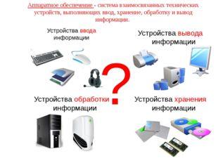Устройства ввода информации Устройства вывода информации Устройства обработки