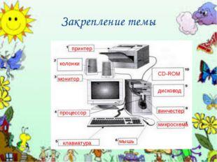 Закрепление темы принтер колонки монитор процессор CD-ROM дисковод винчестер