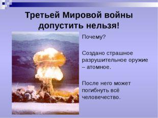 Третьей Мировой войны допустить нельзя! Почему? Создано страшное разрушительн