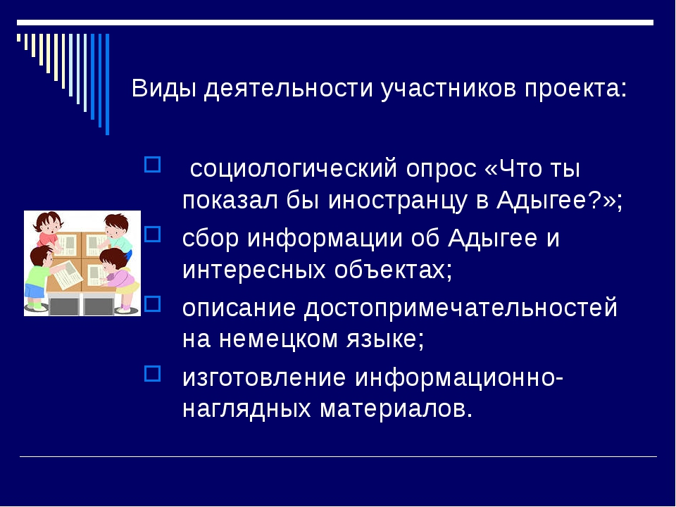 Виды деятельности участников проекта: социологический опрос «Что ты показал б...