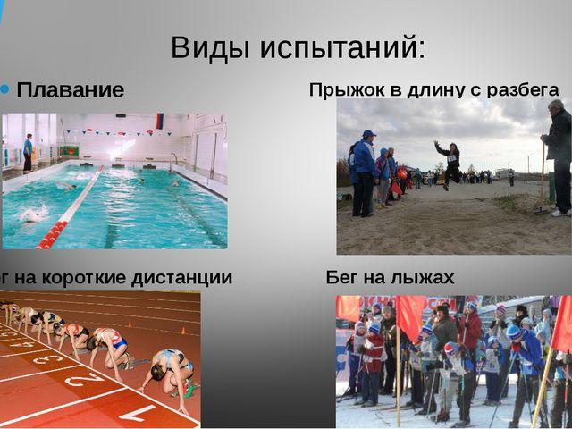 Виды испытаний: Плавание Бег на короткие дистанции Прыжок в длину с разбега Б...