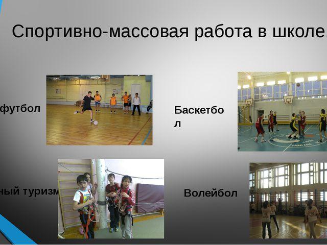 Спортивно-массовая работа в школе. Мини-футбол Баскетбол Спортивный туризм Во...