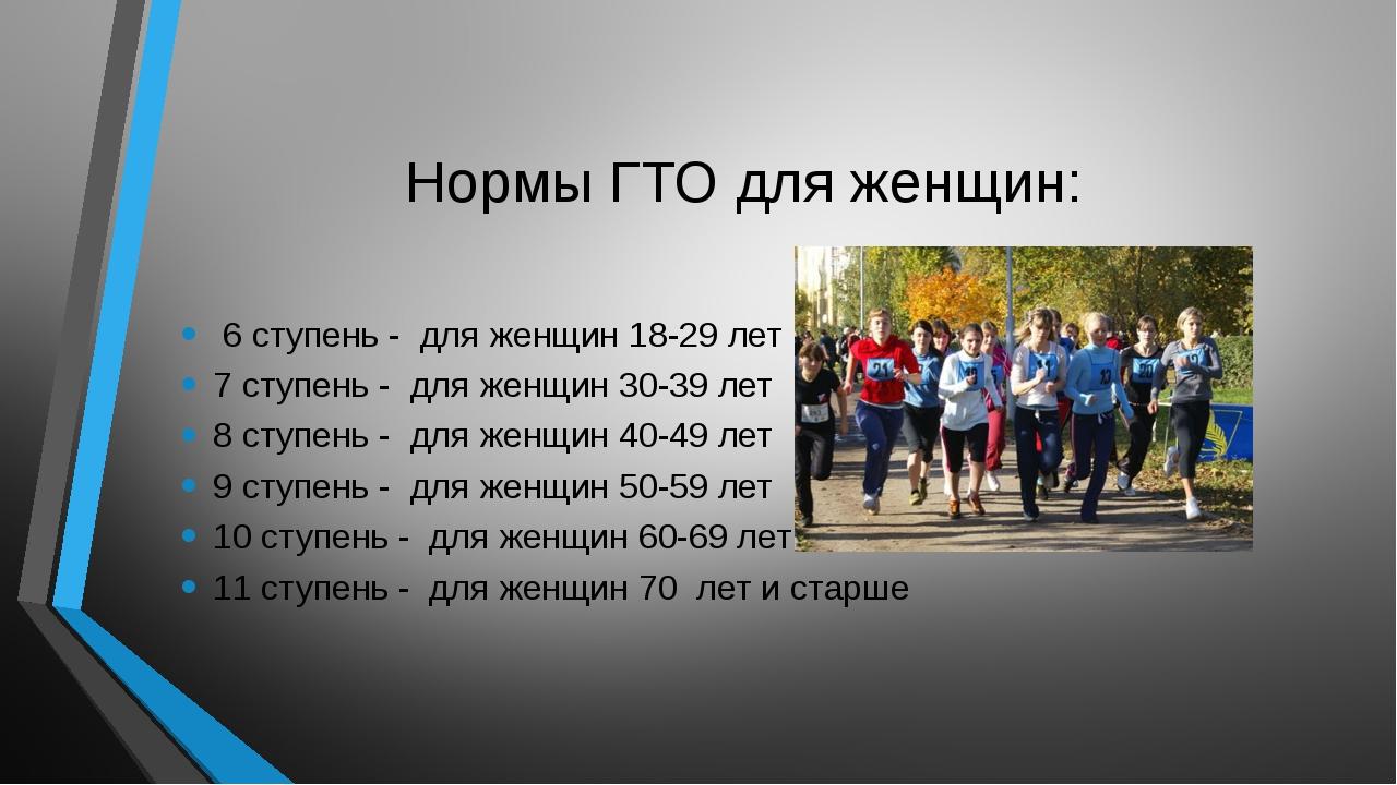Нормы ГТО для женщин: 6 ступень - для женщин 18-29 лет 7 ступень - для женщин...