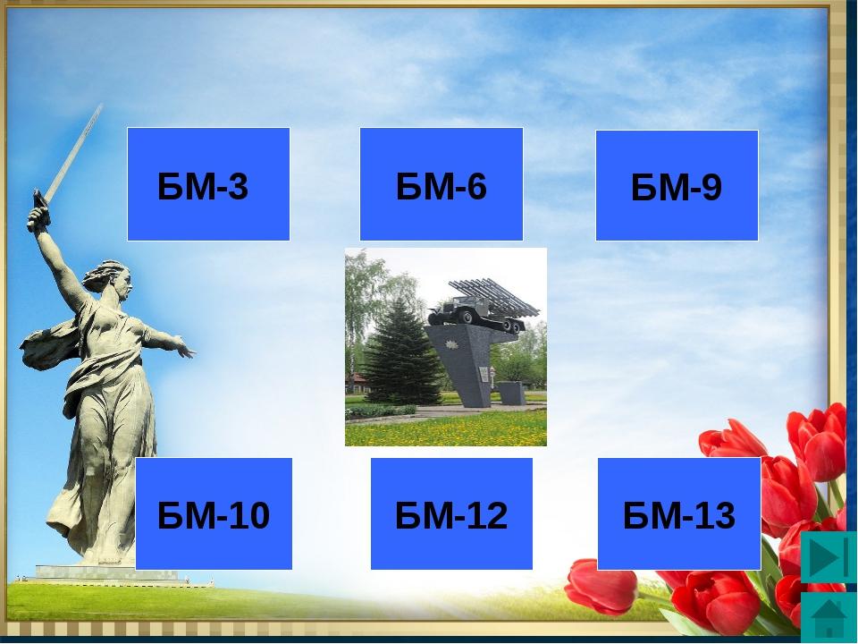 3 2 1 4 5 6 БМ-13 БМ-12 БМ-10 БМ-3 БМ-6 БМ-9