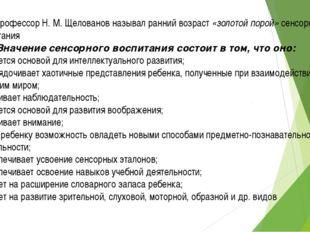 Профессор Н. М. Щелованов называл ранний возраст «золотой порой» сенсорного