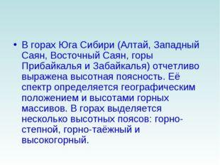 В горах Юга Сибири (Алтай, Западный Саян, Восточный Саян, горы Прибайкалья и