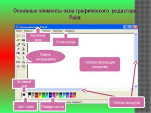 Основные элементы окна графического редактора Paint Строка меню Палитра цвето