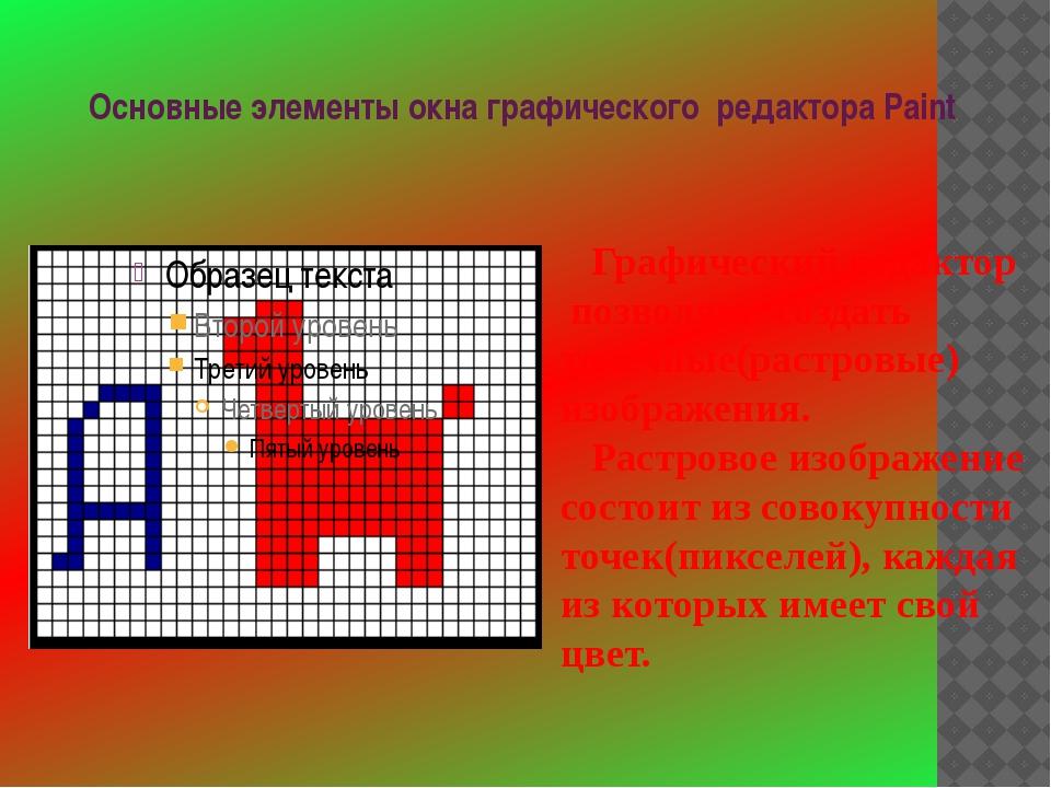Основные элементы окна графического редактора Paint Графический редактор позв...