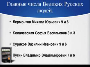 Главные числа Великих Русских людей. Лермонтов Михаил Юрьевич 9 и 6 Ковалевск