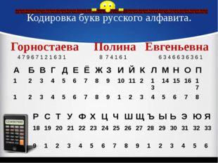 Кодировка букв русского алфавита. Горностаева Полина Евгеньевна 4 7 9 6 7 1 2
