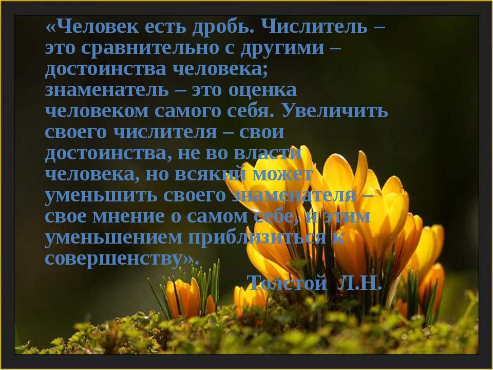 «Человек есть дробь. Числитель – это сравнительно с другими – достоинства че...