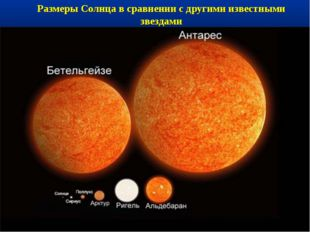 Размеры Солнца в сравнении с другими известными звездами