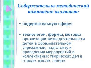 Содержательно-методический компонент включает: содержательную сферу; технолог