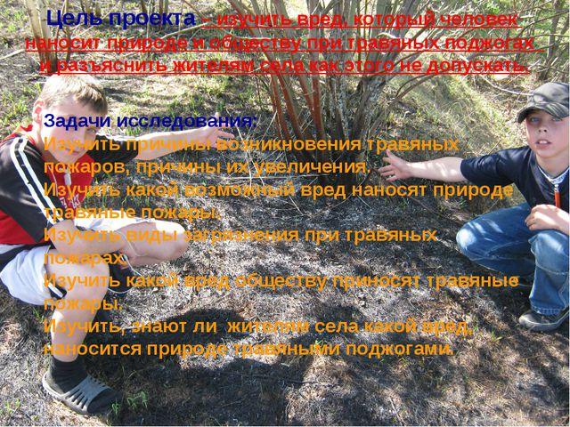 Задачи исследования: Изучить причины возникновения травяных пожаров, причины...