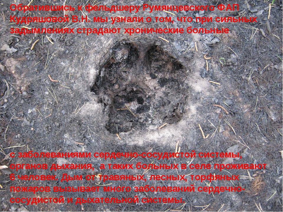 Обратившись к фельдшеру Румянцевского ФАП Кудряшовой В.Н. мы узнали о том, чт...