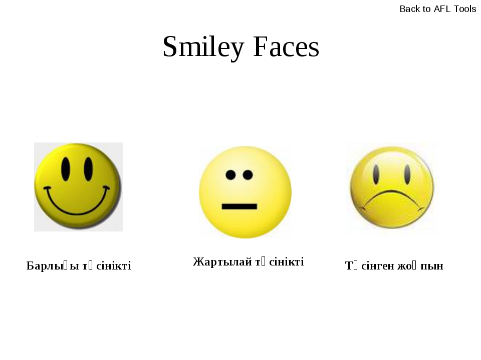 Smiley Faces Барлығы түсінікті Жартылай түсінікті Түсінген жоқпын Back to AFL...