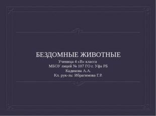 БЕЗДОМНЫЕ ЖИВОТНЫЕ Ученица 4 «В» класса МБОУ лицей № 107 ГО г. Уфа РБ Кадиков
