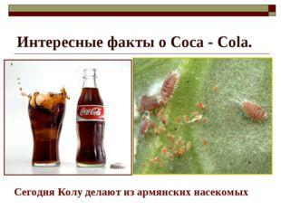 Интересные факты о Coca - Cola. Сегодня Колу делают из армянских насекомых