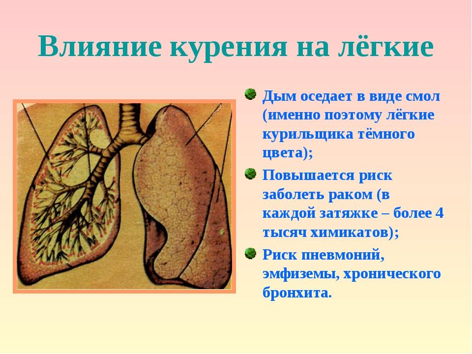 Влияние курения на лёгкие Дым оседает в виде смол (именно поэтому лёгкие кури...