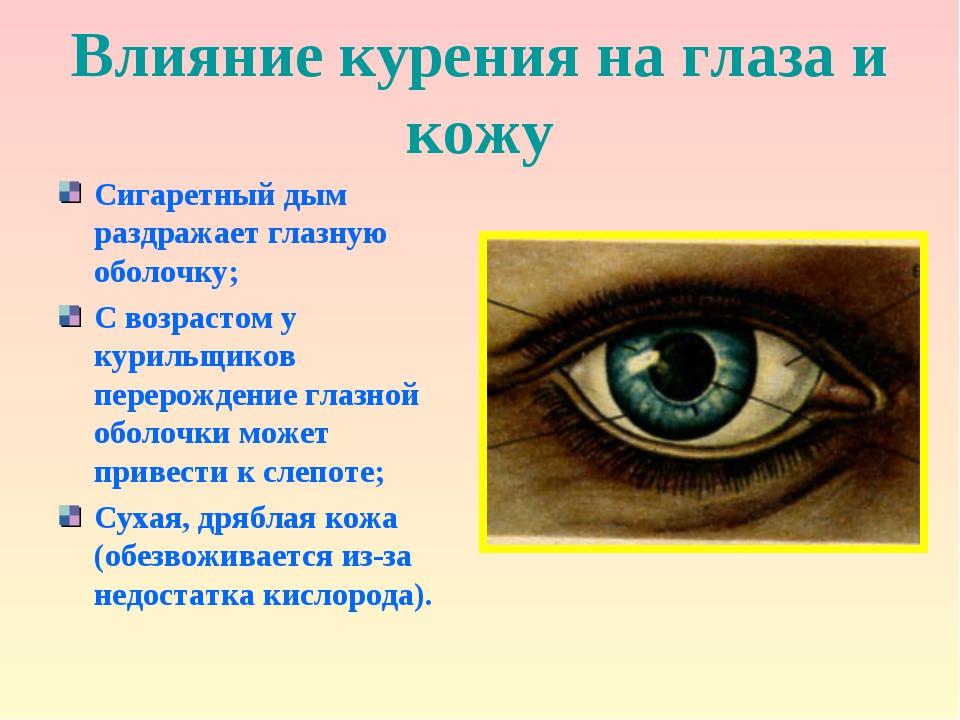 Влияние курения на глаза и кожу Сигаретный дым раздражает глазную оболочку; С...