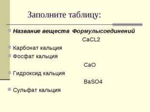 Заполните таблицу: Название веществ Карбонат кальция Фосфат кальция Гидрокси