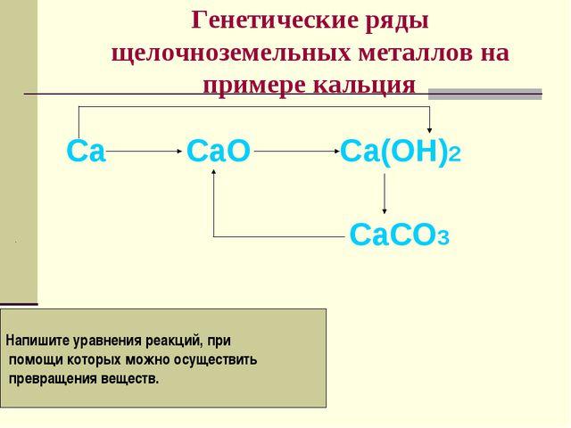 Генетические ряды щелочноземельных металлов на примере кальция Са СаО Са(ОН)2...