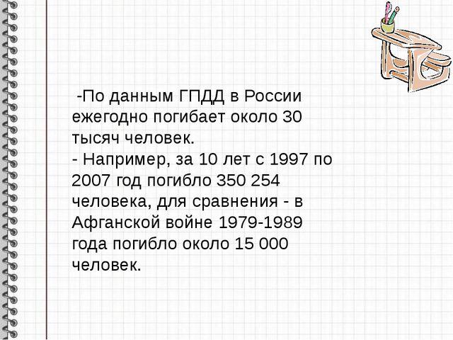 -По данным ГПДД в России ежегодно погибает около 30 тысяч человек. - Наприме...