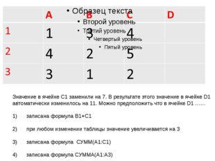 Значение в ячейке С1 заменили на 7. В результате этого значение в ячейке D1 а