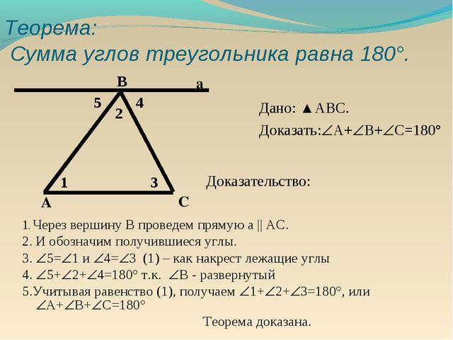 Теорема: Сумма углов треугольника равна 180°. Дано: ▲АВС. Доказать:А+В+С=1...