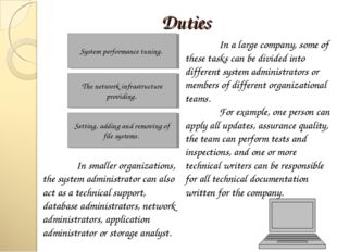 Duties System performance tuning. The network infrastructure providing. Setti