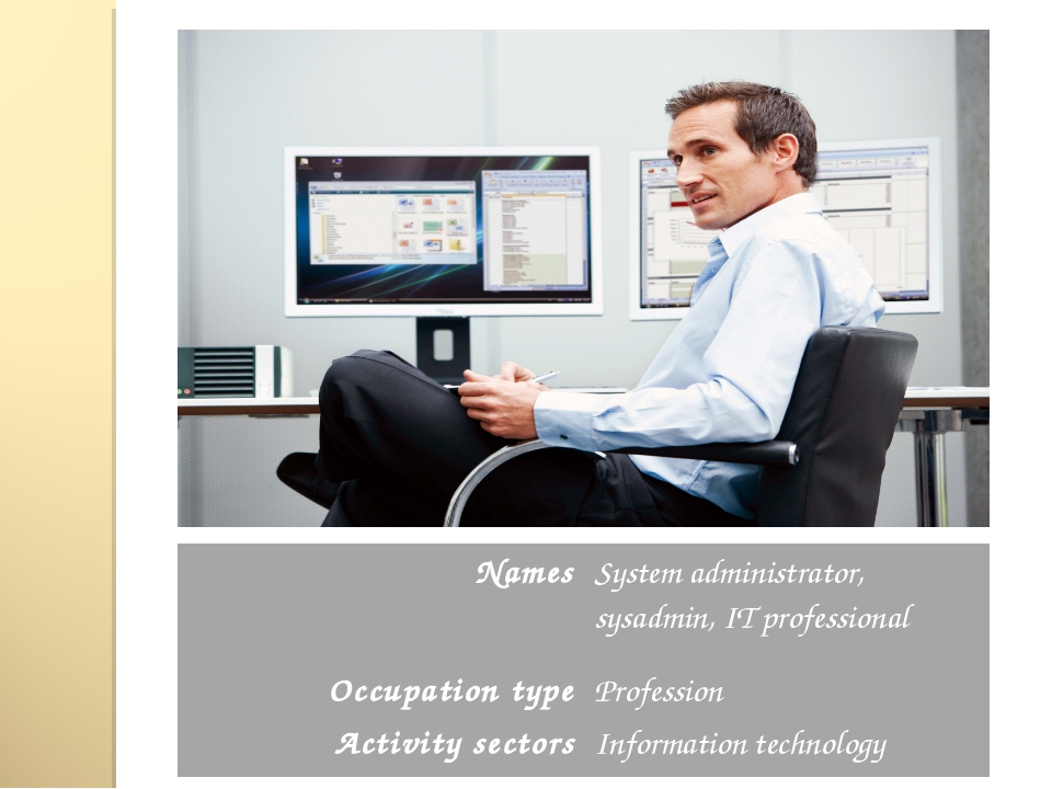 Names	System administrator, sysadmin, IT professional Occupation type	Profess...