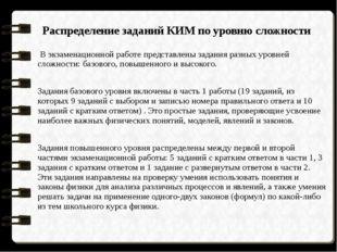 Распределение заданий КИМ по уровню сложности В экзаменационной работе предс