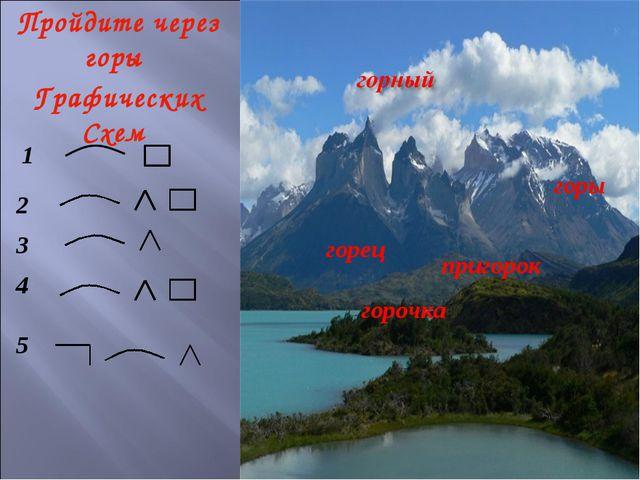 Пройдите через горы Графических Схем горец пригорок горы горочка 1 2 3 4 5