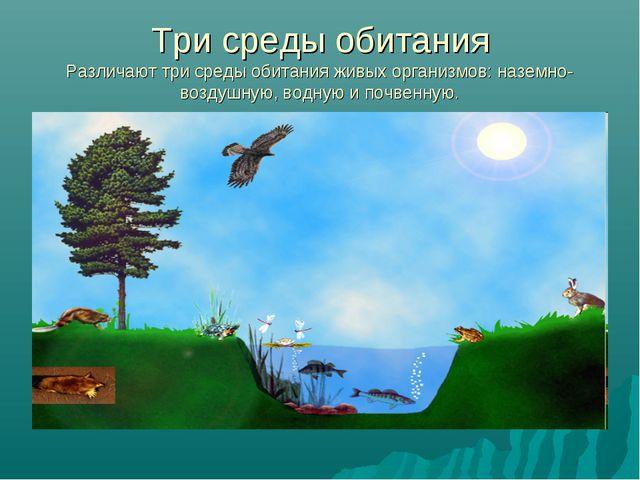 Три среды обитания Различают три среды обитания живых организмов: наземно-воз...