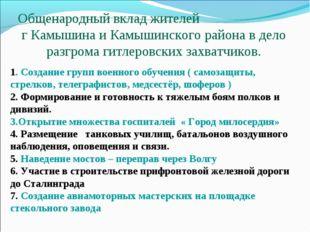Общенародный вклад жителей г Камышина и Камышинского района в дело разгрома г