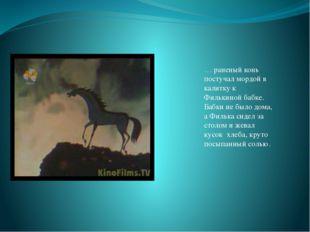 … раненый конь постучал мордой в калитку к Филькиной бабке. Бабки не было дом