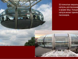 32 полностью закрытые кабинки-капсулы для пассажиров, сделанные в форме яйца.