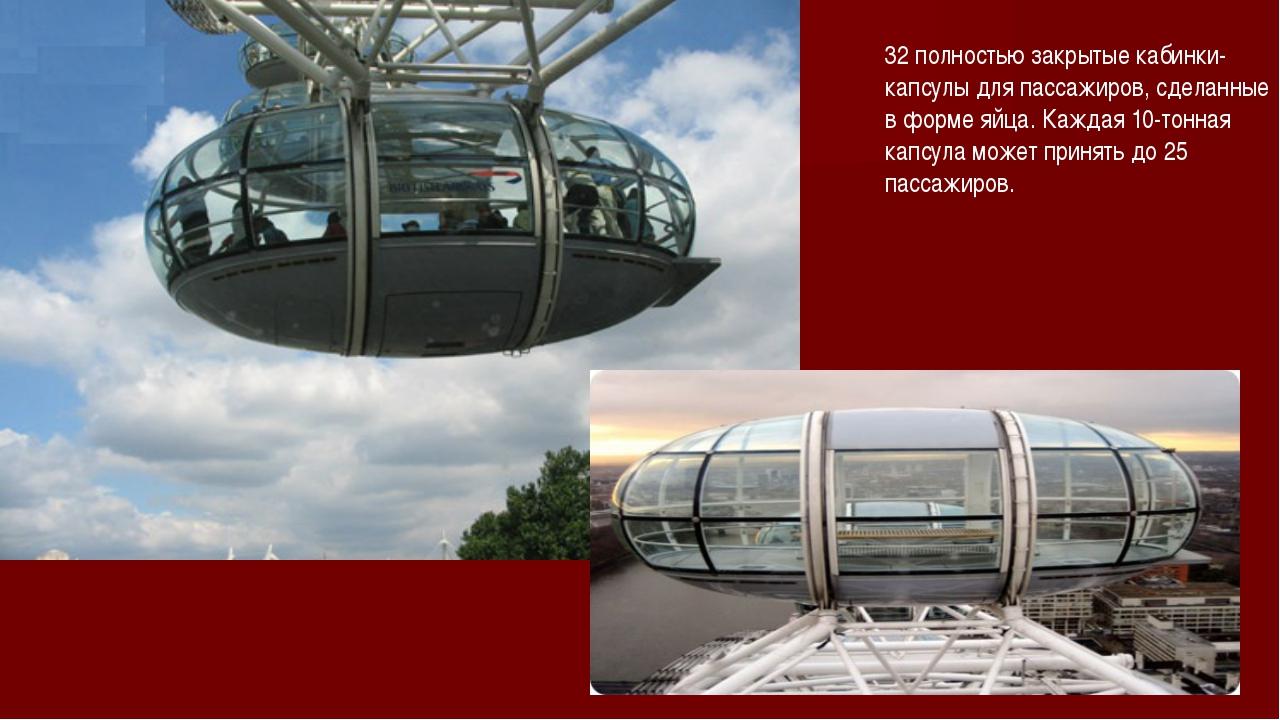 32 полностью закрытые кабинки-капсулы для пассажиров, сделанные в форме яйца....