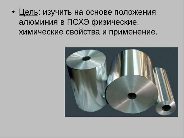 Цель: изучить на основе положения алюминия в ПСХЭ физические, химические свой...