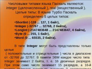 Числовыми типами языка Паскаль являются: integer (целочисленный ), real (веще