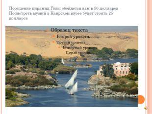 Посещение пирамид Гизы обойдется вам в 50 долларов Посмотреть мумий в Каирско
