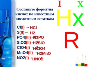 Составьте формулы кислот по известным кислотным остаткам Cl(I) → S(II)→ PO4(I