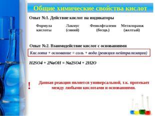 Общие химические свойства кислот Опыт №1. Действие кислот на индикаторы Опыт