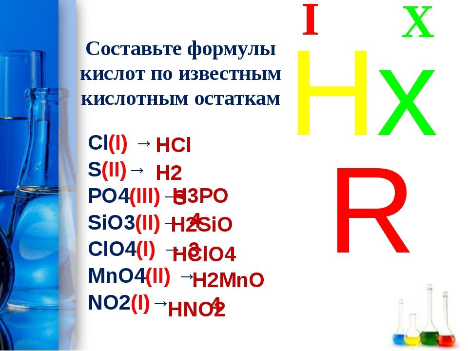 Составьте формулы кислот по известным кислотным остаткам Cl(I) → S(II)→ PO4(I...