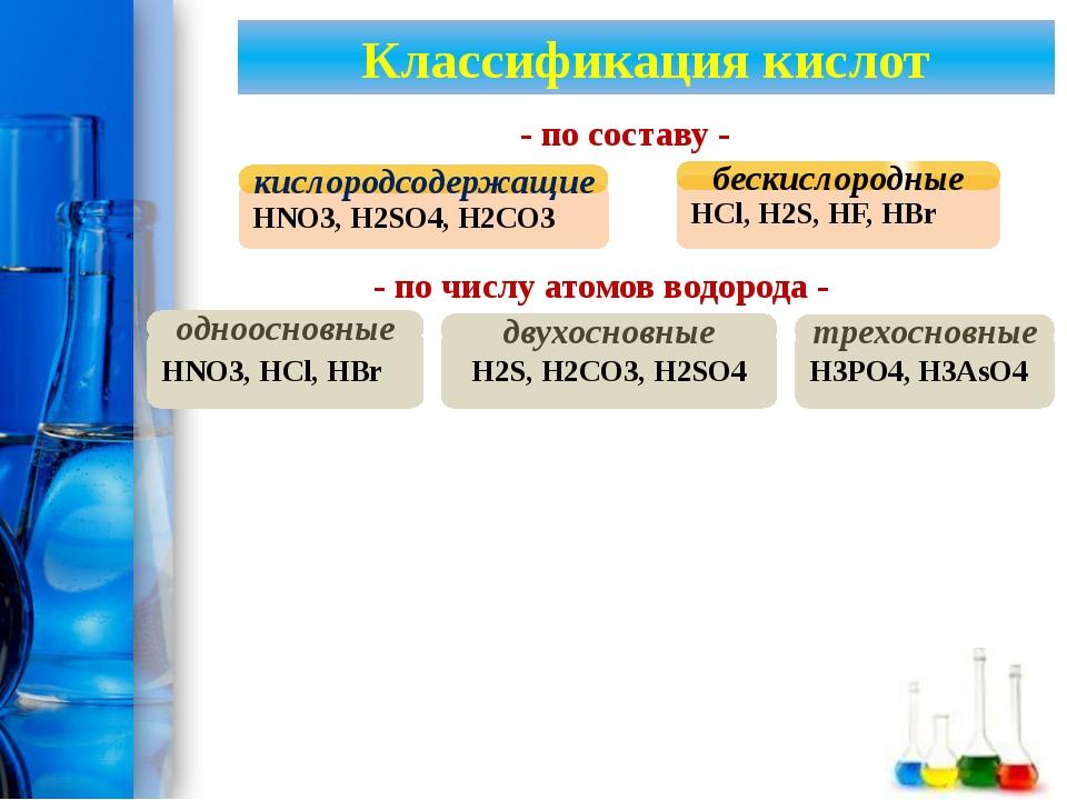 Классификация кислот HNO3, HCl, HBr одноосновные HNO3, H2SO4, H2CO3 кислород...