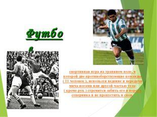 спортивная игра на травяном поле, в которой две противоборствующие команды (
