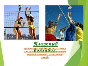 Пляжный волейбол, представляет собой игру двух команд – по два игрока каждая