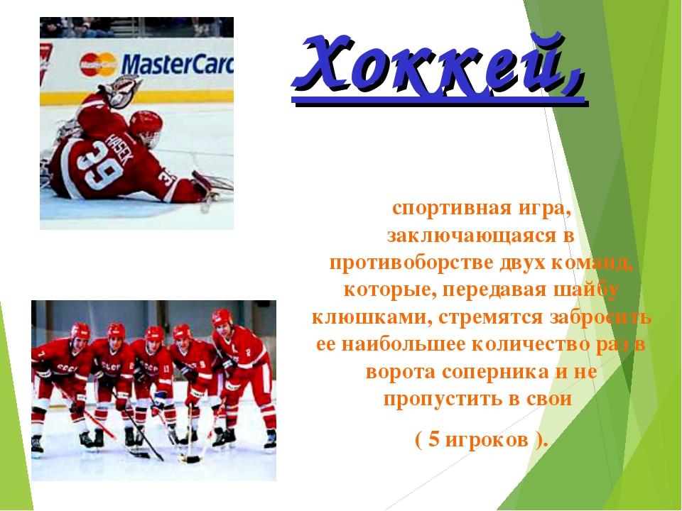 Хоккей, спортивная игра, заключающаяся в противоборстве двух команд, которые,...