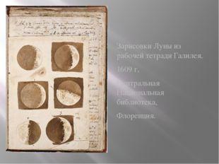 Зарисовки Луны из рабочей тетради Галилея. 1609 г, Центральная Национальная