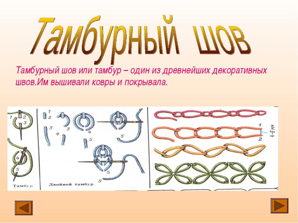 Тамбурный шов или тамбур – один из древнейших декоративных швов.Им вышивали к...